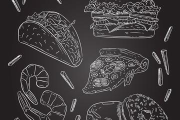 6款粉笔绘快餐食物设计矢量图