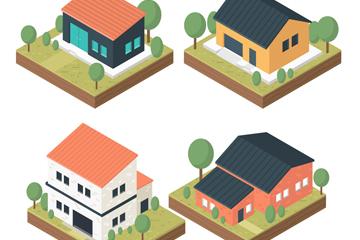 4款立体私人住宅设计矢量素材