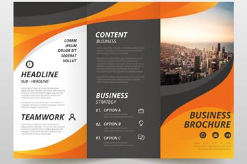 时尚橙色三折页商务宣传单矢量图