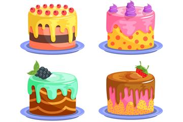 4款美味奶油蛋糕矢量素材