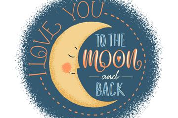 手绘月亮爱的隽语矢量素材