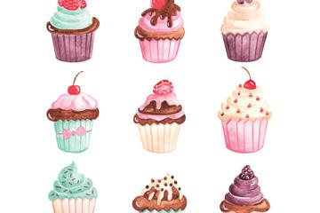 9款彩绘纸杯蛋糕设计矢量图