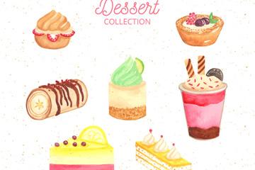7款彩绘甜点设计矢量素材