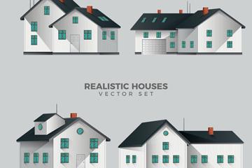 4款立体房屋设计矢量素材