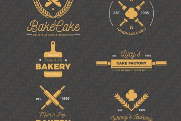 6款复古金色面包店标志矢量图