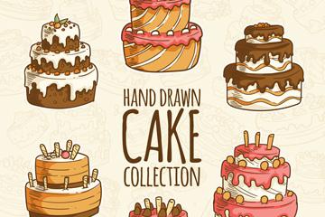 6款手绘节日蛋糕设计矢量图