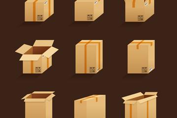 9款创意立体纸板箱矢量素材