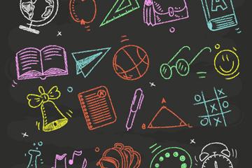 20款粉笔绘校园元素矢量素材
