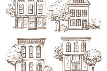 4款手绘风格楼房设计矢量图