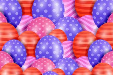 彩色水玉点和条纹气球背景矢量素