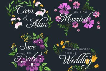 4款彩色婚礼花卉标签矢量图