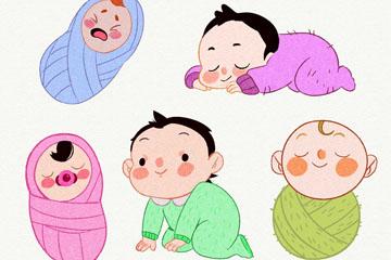 5款水彩绘婴儿设计矢量素材