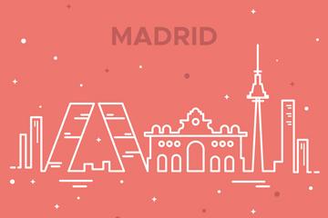 白色抽象马德里著名建筑矢量图