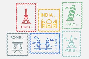 6款彩色复古城市邮票矢量素材