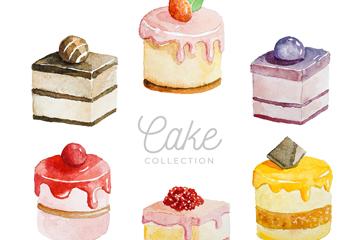 6款水彩绘美味蛋糕矢量素材