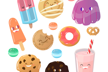 8款彩绘可爱表情甜品矢量图