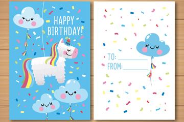 可爱独角兽和云朵生日贺卡正反面