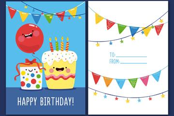 彩色蛋糕生日贺卡正反面矢量图