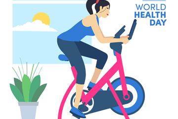 创意世界健康日骑健身车的女子矢量图