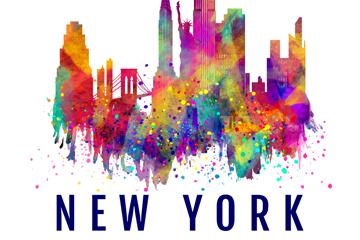 抽象彩绘纽约建筑矢量素材