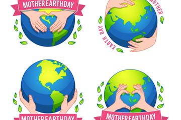 4款彩绘世界地球日地球标签矢量
