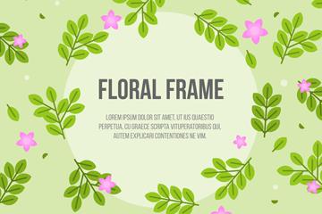 绿色树叶和粉色花朵框架矢量图