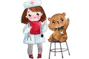 水彩绘世界健康日女孩和玩偶熊矢