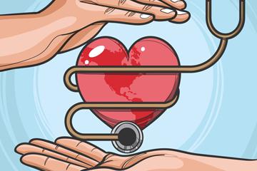 创意世界健康日呵护爱心听诊器的