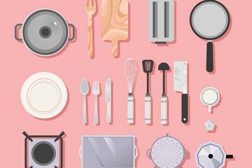 19款创意厨房用品俯视图矢量素材