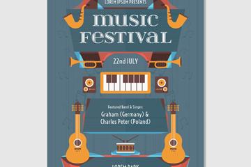 创意乐器音乐节海报矢量素材