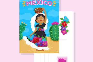 卡通墨西哥女子明信片正反面矢量�D