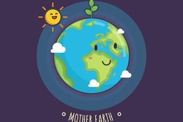 可爱世界地球日地球和太阳矢量图