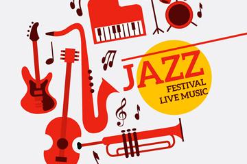 红色国际爵士乐日乐器矢量素材