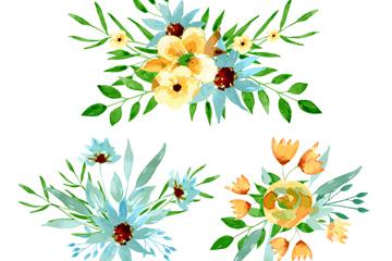 3款水彩绘花束设计矢量素材