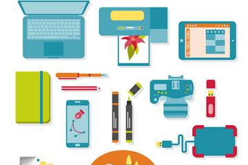 18款创意平面设计物品矢量图