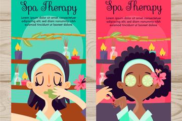 2款创意做spa的女子banner矢量素