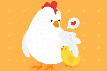 彩绘母亲节母鸡和鸡仔矢量素材