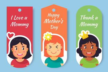 3款彩色母亲节女子吊牌矢量素材