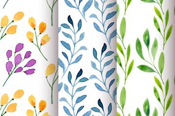 3款彩色花卉和树枝无缝背景矢量