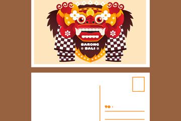 创意巴厘岛面具明信片正反面矢量素材