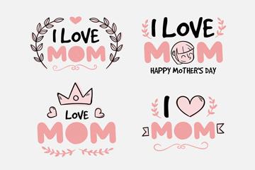 4款粉色母亲节标签设计矢量素材