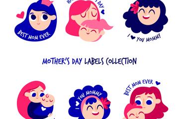 6款彩色母亲节女子头像标签矢量图