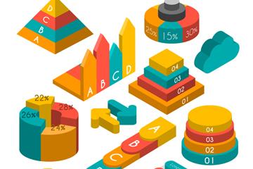 12款彩色立体信息图元素矢量素材