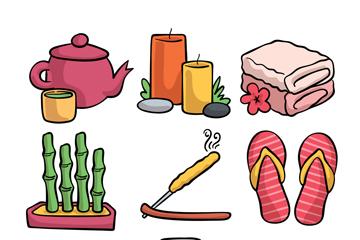 9款彩色手绘spa元素矢量素材