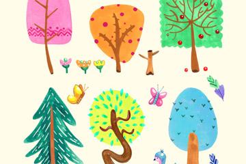 6款彩色树木和花鸟设计矢量素材