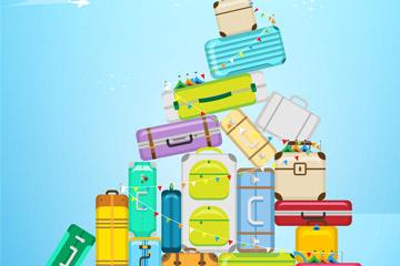 彩色堆起的行李箱矢量素材