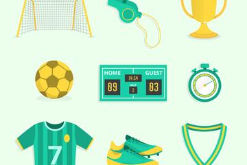 9款绿色足球元素设计矢量图