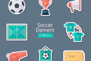 8款创意足球元素贴纸矢量素材