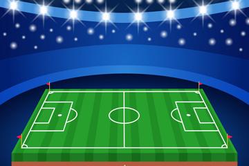 创意夜晚足球赛场矢量素材