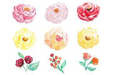 9款水彩绘花朵设计矢量素材